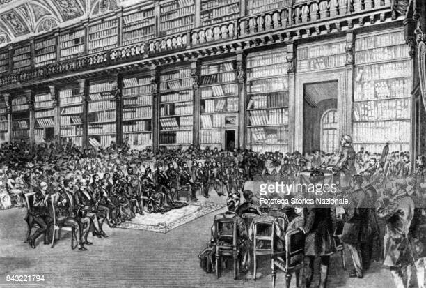 Italian sovereigns at the inauguration of the Manzonian Hall decorated by Italian artist Lodovico Pogliaghi The hall was meant to hold all the...