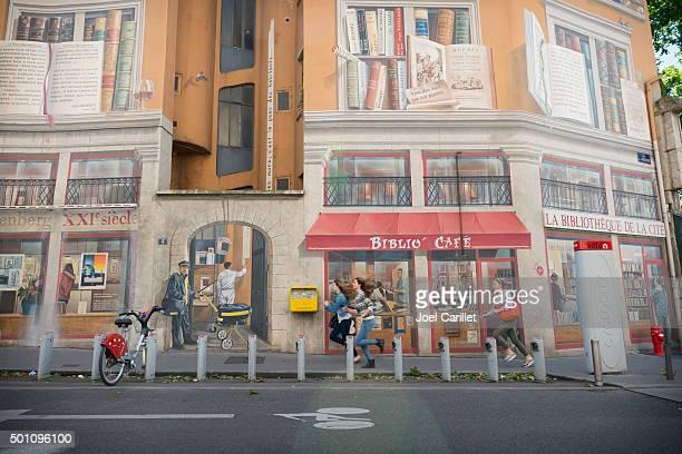 Bibliothèque de la Cité peinture murale à Lyon, France