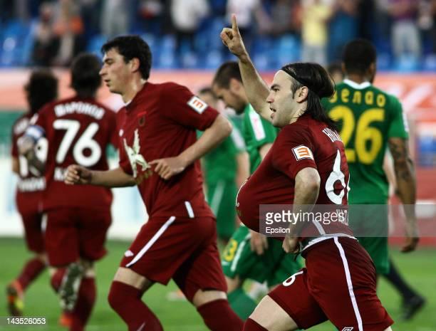 Bibras Natkho of FC Rubin Kazan celebrates after scoring a goal during the Russian Football League Championship match between FC Rubin Kazan and FC...