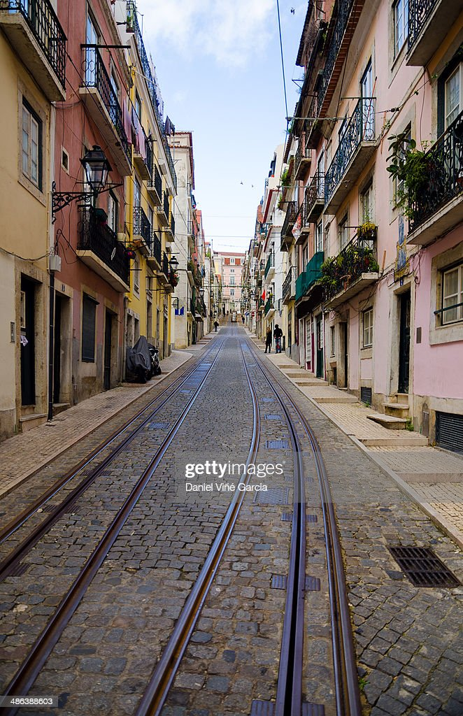 Bica Elevator Tram In Lisbon Portugal Stock Photo Getty Images