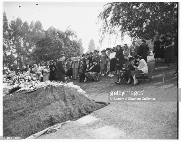 Bice funeral at church 4 September 1951 Mrs Ruby UngerLeon BiceAlfred MillerMrs Carol MillerMrs Marie ShingletonCaption slip reads 'Photographer...