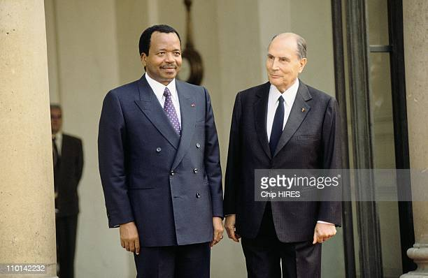 Bicentenary Heads of State at Elysee Palace,President of Cameroon Paul Biya and French President Francois Mitterand in Paris, France on July 12, 1989.