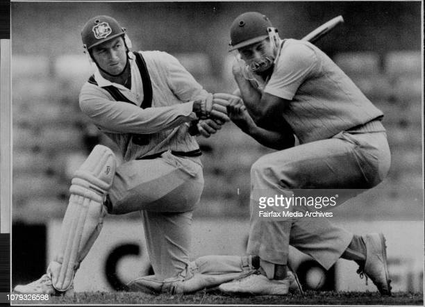 Bicentennial Test at SCG Aust Verses EnglandMarsh Aweepa one of Emburey into Moxon February 1 1988