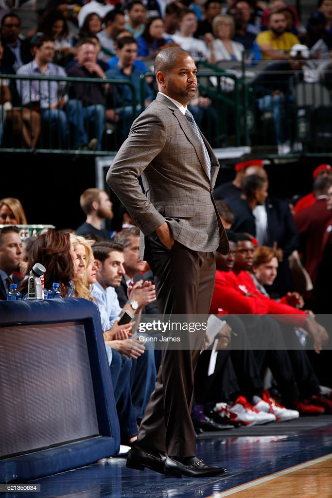 J.B. Bickerstaff of the Houston Rockets is seen against the Dallas Mavericks on April 6, 2016 at the American Airlines Center in Dallas, Texas.