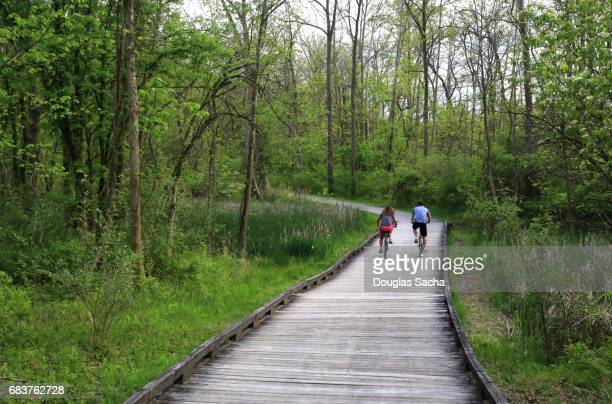 bicycle activity on the multipurpose nature trail, cuyahoga valley national park, akron, ohio, usa - cuyahoga river stock photos and pictures