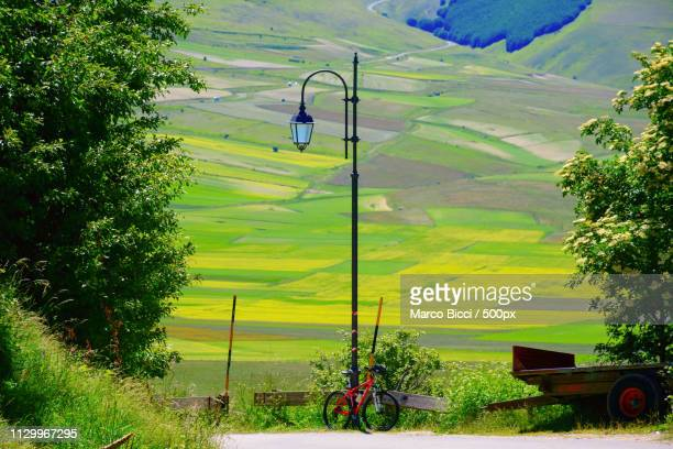 bicycle against a lamppost - umbria stock pictures, royalty-free photos & images