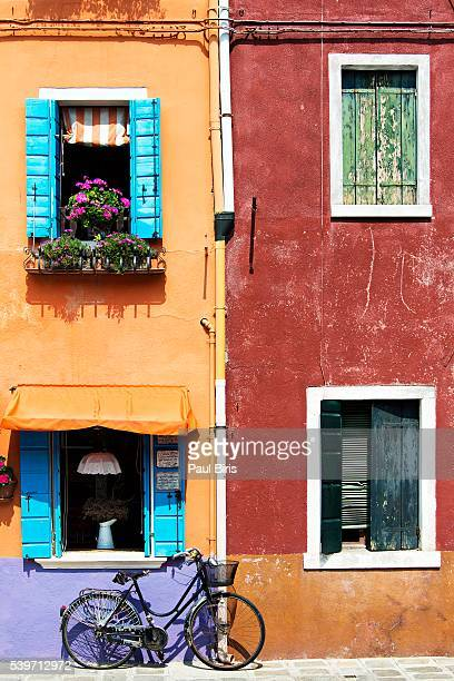 Bicycle Against Colorful Wall, Burano, Italy