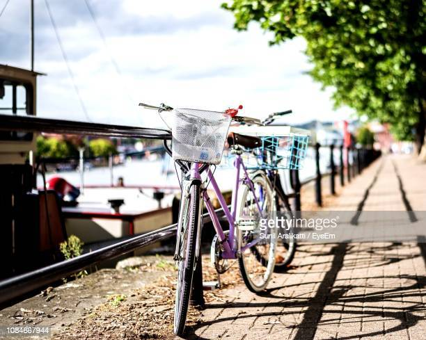 bicycle against sky on sunny day - bristol stock photos and pictures