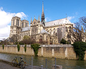 Bicycle and Notre Dame in Paris