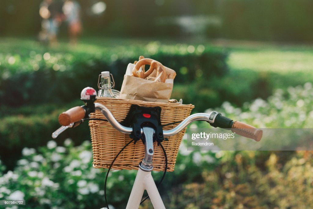 Bicycle basket full of groceries : Stock Photo