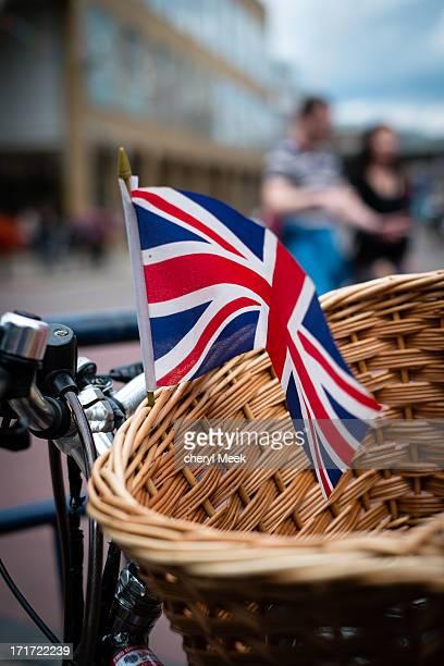 Bicycle basket, union jack flag