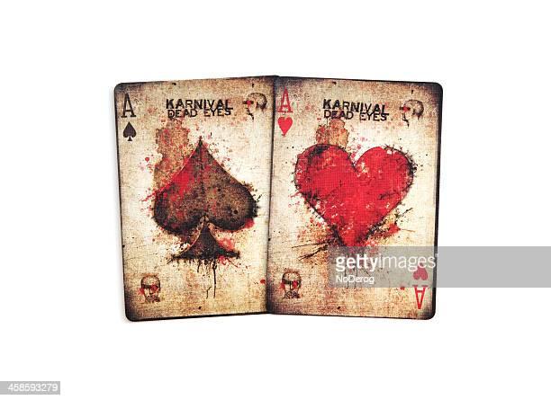 fahrrad-marke karnival toten augen spielkarten aces - bloody heart stock-fotos und bilder