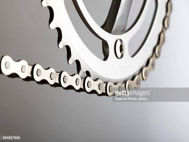bicycle chain and crank - link chain part stock photos and pictures