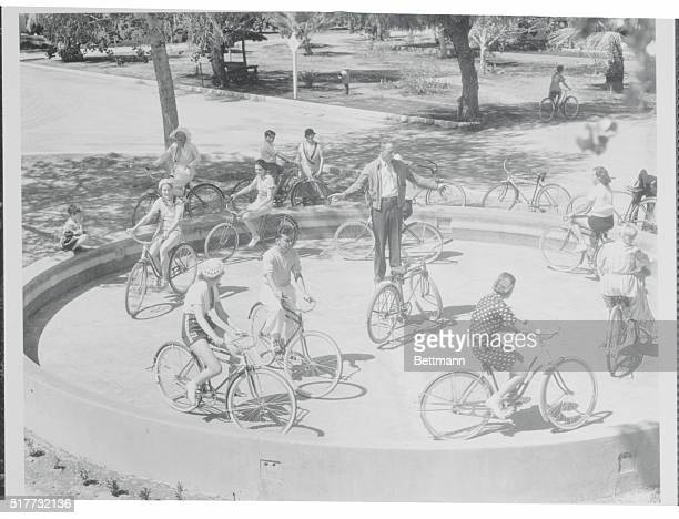Bicycle Class at Palm Springs Palm Springs California Society folk regain long lost Bike Legs in world's first bicycle riding ring at Palm Springs...