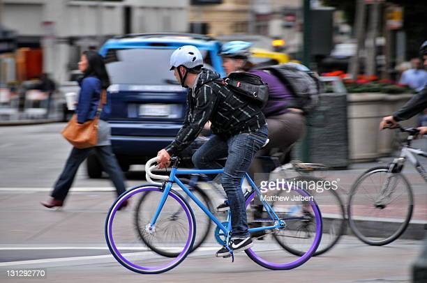 Bicycle commuters in downtown San Francisco, 2009.