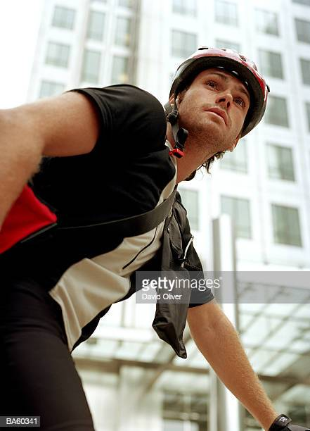 Bicycle courier, low angle view