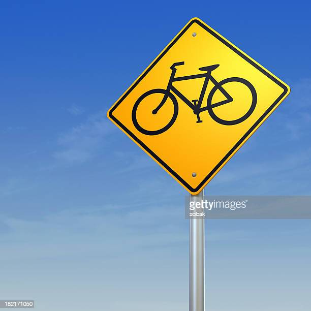 Bicycle crossing- yellow warning road sign