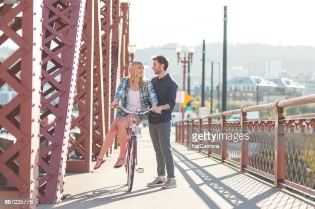 Bicycle Date on Bridge