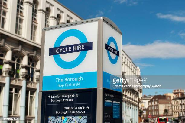 Bicycle docking station part of the Barclays sponsored cycle hire scheme set up to promote cycling in London UK