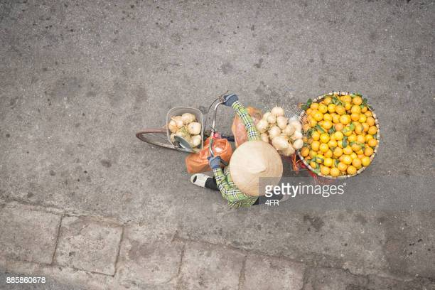 Bicycle Fruit Push Cart, Street Market Life, Old Quarter, Ha Noi, Vietnam