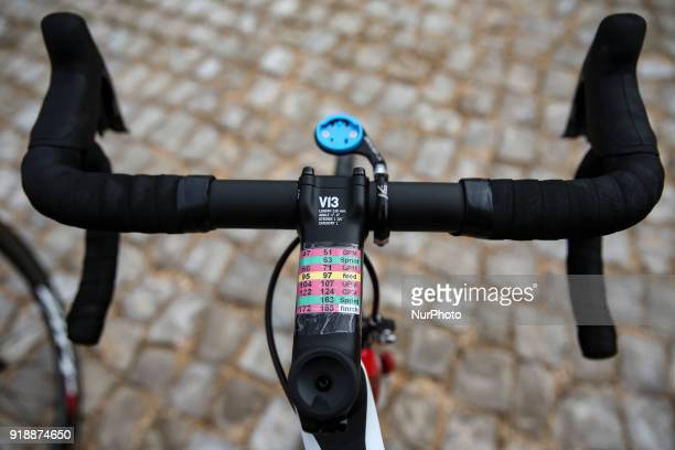 Bicycle handlebars before the 2nd stage of the cycling Tour of Algarve between Sagres and Alto do Foia on February 15 2018