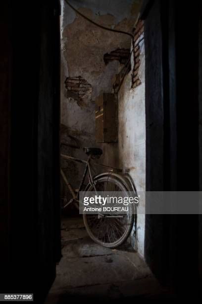 Bicycle in a building entrance in Varanasi, India