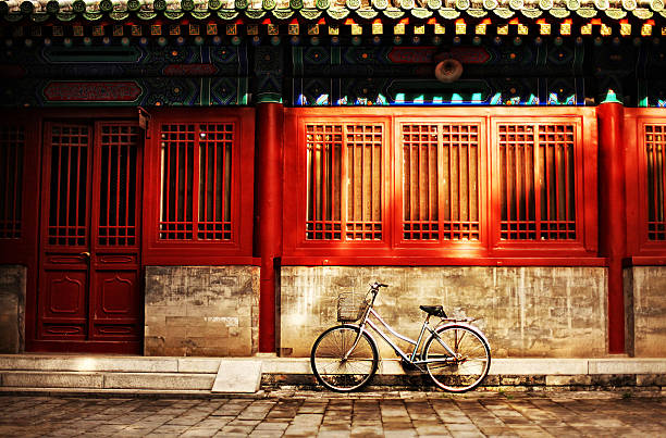 Bicycle in sunlight at Confucius Temple in Beijing
