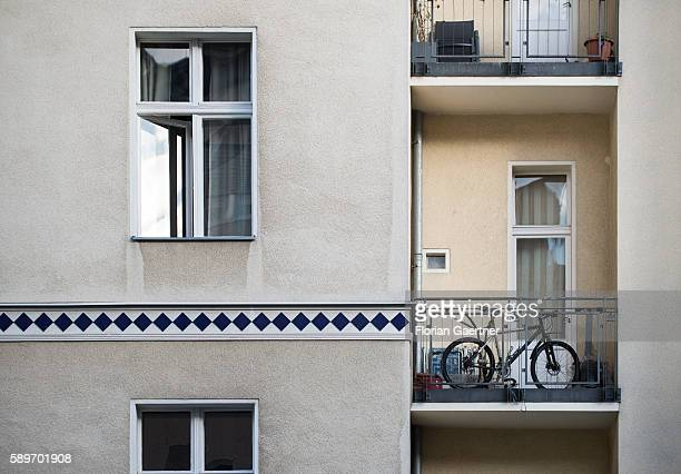 A bicycle is parked on a balcony to guard it against theft on August 10 2016 in Berlin Germany