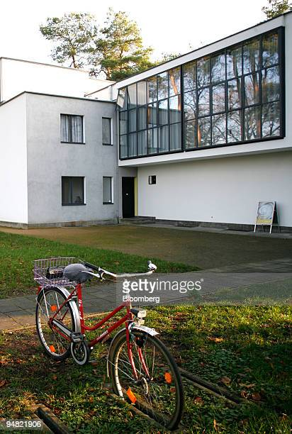 A bicycle is parked outside one of the Bauhausdesigned Meisterhaueser or master's houses in Dessau Germany Friday December 1 2006 The art and...