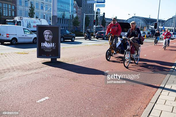 Bicycle lane and cyclist on Piet Heinkade