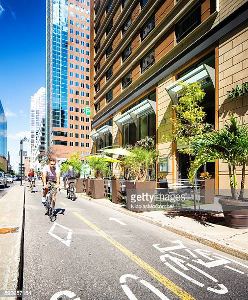 Bicycle lane in downtown Montreal on a sunny Summer day