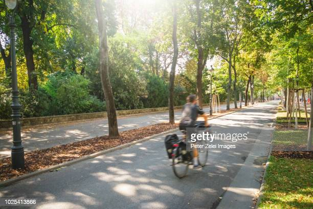 bicycle lane with a motion blurred cyclist in vienna, austria - boulevard stock pictures, royalty-free photos & images