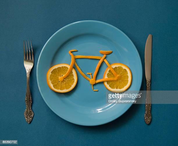 Bicycle made of orange