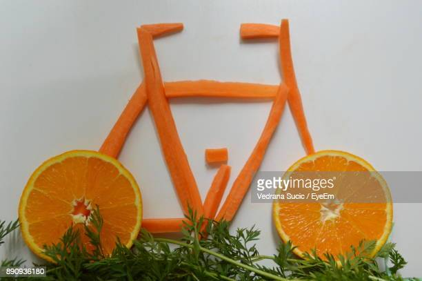 Bicycle Made With Fruit And Vegetables On Table