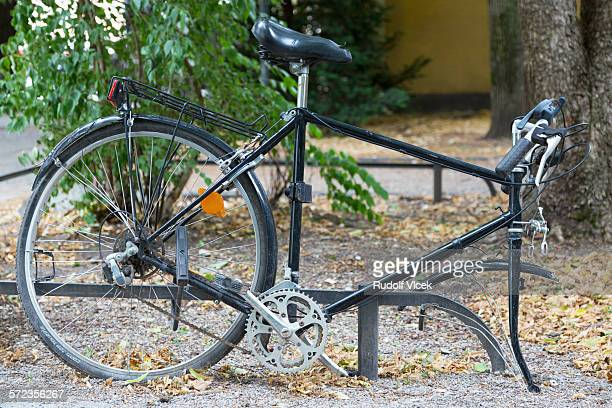 Bicycle missing front wheel (stolen)