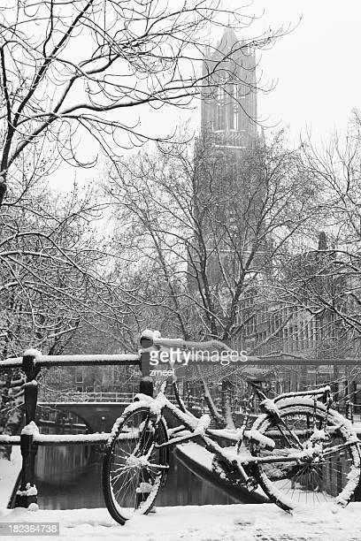Bicycle on bridge in winter