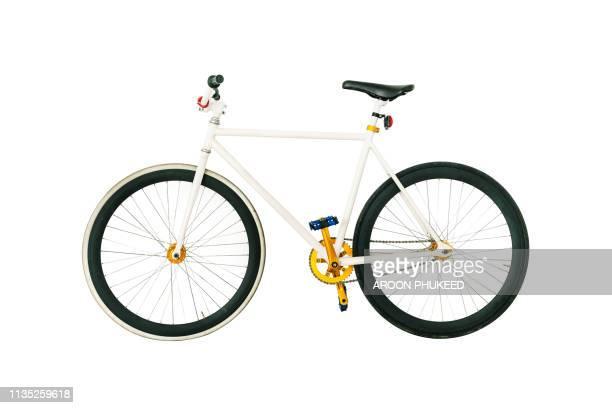 bicycle on white, fixed gear. - tvåhjulig cykel bildbanksfoton och bilder