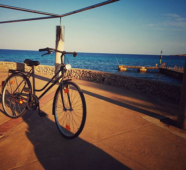 Bicycle Parked On Footpath Against Sea