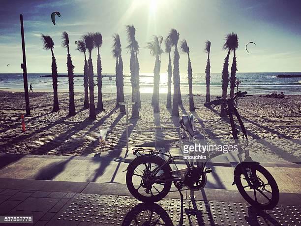 Bicycle parked on Tel Aviv Beach, Israel