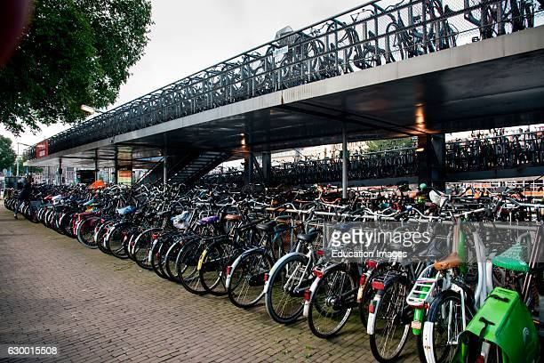 Bicycle parking lot Amsterdam The Netherlands