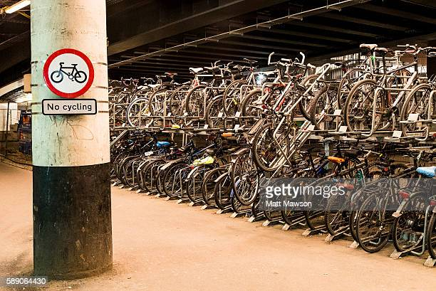 Bicycle parking lot at London Bridge Station London England UK