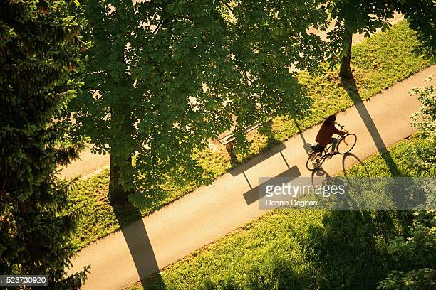 bicycle path along the salzach river - bicycle lane stock pictures, royalty-free photos & images