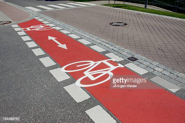 Bicycle path marked with red