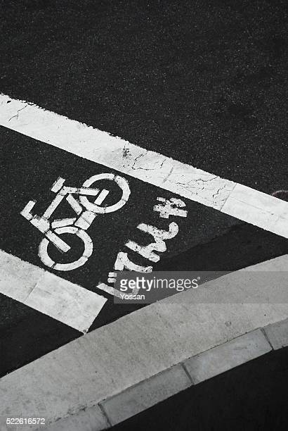 Bicycle Path Painted on Street