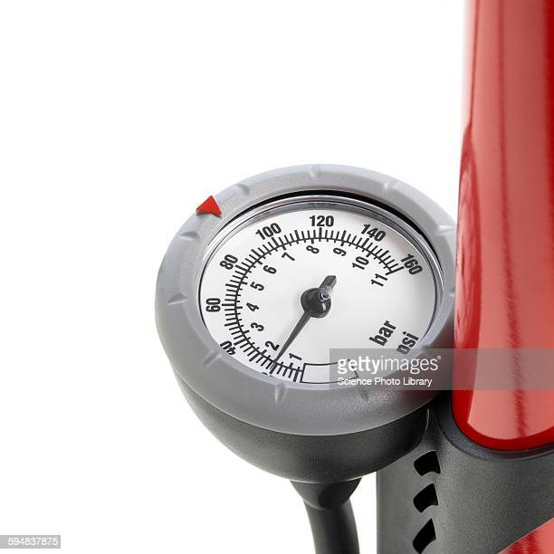 bicycle pump gauge - air pump stock photos and pictures