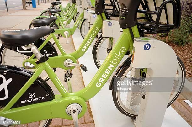 Bicycle rack with rental greenbikes