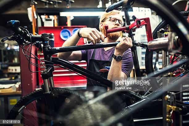 Bicycle Repair Shop Man Working