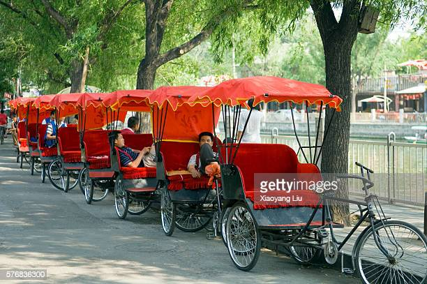 Bicycle Rickshaw Drivers Waiting for Customers in Beijing