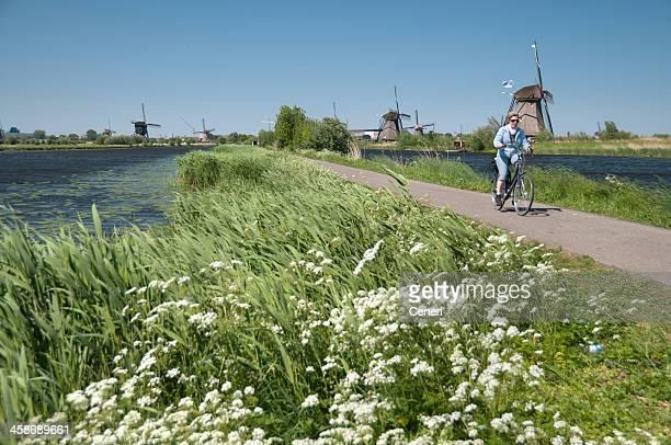 Bicycle Ride to Windmills of Kinderdijk, Netherlands