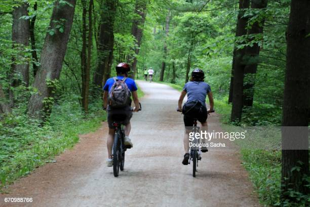 Bicycle riders on the towpath, Cuyahoga Valley National Park, Bath, Ohio, USA